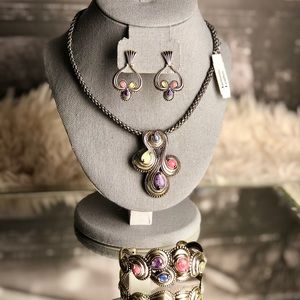 Carolyn Pollack Leather Sterling Multi-Stone Set
